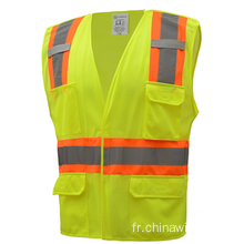 High Visibility Two Tone 5 Points Veste de sécurité Breakaway 100% Mesh en polyester